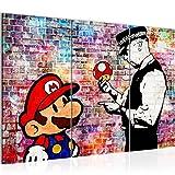 Bilder Mario and Cop Banksy Ziegel Mauer Wandbild 120 x 80 cm - 3 Teilig Vlies - Leinwand Bild XXL Format Wandbilder Wohnzimmer Wohnung Deko Kunstdrucke Bunt - Fertig zum Aufhängen 303031c