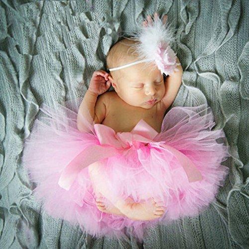 s Baby Rock Tutu Kleidung Trikot Kostüm Foto Prop Outfits Bekleidung Set (Rosa) (Halloween Tutus Für Neugeborene)