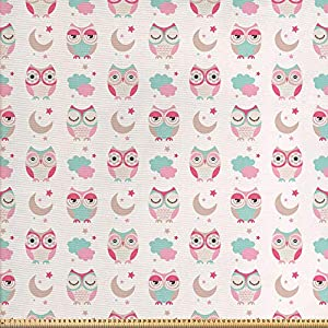 ABAKUHAUS Eulen Stoff als Meterware, Vögel Sterne Mond Pastell, Qualität aus Gewebten Stoff Wohnaccessoires, 5M (160x500cm), Mandelgrün Rosa Tan