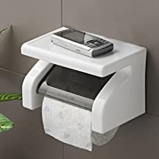 JERN Waterproof Toilet Paper Holder Tissue Roll Stand Box with Shelf Rack