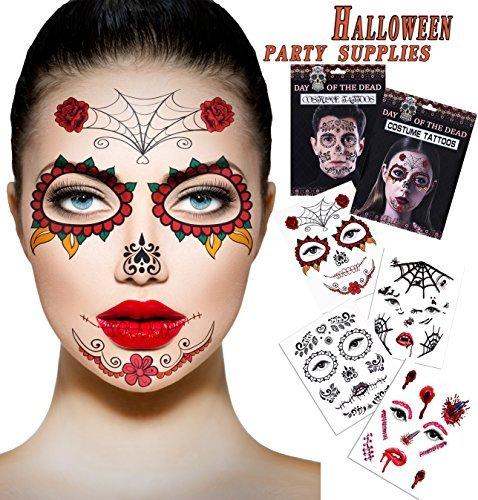 Gesicht Skelett Kostüm Halloween (Halloween Temporäre Narbe Blut Tattoos 4 Blatt Gesicht Tattoos Kit: Skelett Tag der Toten Temporäre 2 Blatt Halloween Prom Spinne, Blut, Narbe, Fledermaus Kostüm Tattoos 2)
