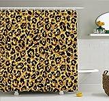 Safari Décor Rideau de douche Ensemble par Ambesonne, peau de léopard Motif avec Doré tendance féminine sexy kitsch Rosaces Safari Thème, accessoires de salle de bain, 190,5cm de long, Noir, Doré