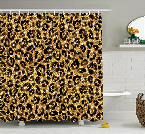 Safari Decor Shower Curtain Set By Ambesonne Leopard Skin Pattern