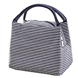 LQZ Fashion Stripe Picnic School Office Insulated Tote Lunch Bag for Women Men