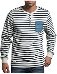 Deeluxe 74 - Pull marinière homme avec poche poitrine stylé