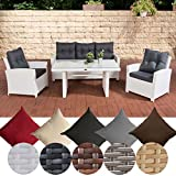 CLP Gartengarnitur FISOLO I Sitzgruppe mit 5 Sitzplätzen I Gartenmöbel-Set aus Polyrattan I in Verschiedenen Farben erhältlich Rattan Farbe Weiß, Bezugfarbe: Eisengrau
