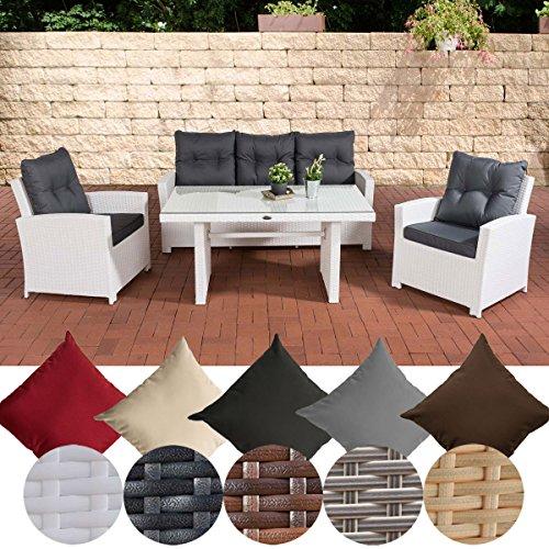 CLP Gartengarnitur FISOLO I Sitzgruppe mit 5 Sitzplätzen I Gartenmöbel-Set aus Polyrattan I...