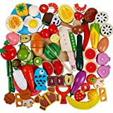 51Pcs Play Food Set For Play Kitchen Wooden Magnetic Fruits And Vegetables Pretend Cutting Toys Educational Learning Kitchen Set For Kids Toddler Boys Girls