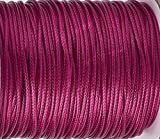 Rêve Créatif - Cordon ciré 0.5mm, Fil de Polyester tressé, 5 mètres 5M en écheveau (Pas de Bobine), Couleur Rose mediumvioletred