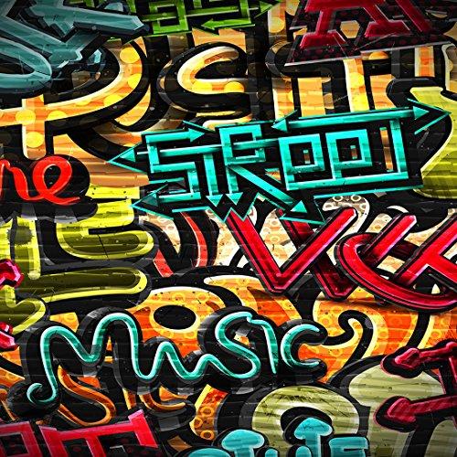 8x8 ft Microfiber Graffiti Fotografie Kulissen keine Falten Vintage 90er Jahre Stil Partei Photo Booth Requisiten Hintergrund