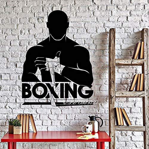 Boxen Ein Vinyl Wandaufkleber Boxer Kämpfer Teens Fight Club Abnehmbare Aufkleber Wohnzimmer Schlafzimmer Dekoration Poster 42x56CM - Elsa-boxer