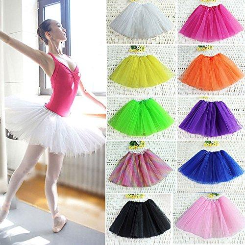 Mangotree Damen Tütü Minirock Organza Pettiskirt 3 Layers Petticoat Tanzkleid Unterrock -
