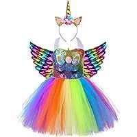 AJEUNGAIN Vestito Unicorno Bambina Paillettes, Costume Unicorno Bambina Abito tutù, Vestito Principessa di Carnevale…