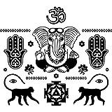 Wandsticker Buddha Hand Hamsa Elefant indischen Oum OM Aufkleber Vinyl Aufkleber Home Decor Innen Design Art Schlafzimmer Yoga Studio mn424