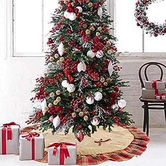 Decoración para árboles de Navidad Paño 48 Pulgadas Falda Grande para árboles de Navidad Tela Escocesa Estera para árboles de Navidad Delantal para árboles de Navidad Decoración navideña
