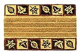 Faba Home Kokos Fußmatte Kokosvelour Rippenmatte Schmutzfang, Blätterbote, sehr robust, wetterfeste Türmatte, Fußabtreter 75 x 45 x 2 cm (+/-2cm)
