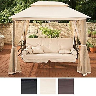 CLP LUXUS Hollywoodschaukel KENIA mit Bettfunktion (3-Sitzer) INKL. 8 cm dicker Sitzauflage & Kissen, aus bis zu 4 Farben wählen von CLP auf Gartenmöbel von Du und Dein Garten