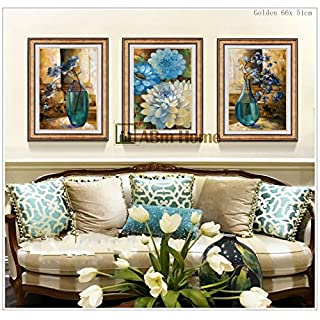 ABm Home -(51cm x 66cm/each Frame/3pcs set) Wall Art, Large Wall Picture Frame, Vintage Style,Framed Canvas, Large Poster (Gold A)