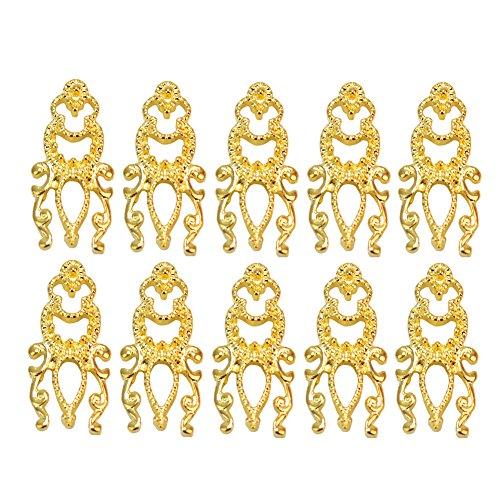 10x 3D Bijoux Ongles Nail Français Art Tips Décorations Creux Doré Brillant