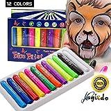 Magicdo Crayons de peinture de visage de - 12 bâtons de peinture de visage de Twistable, corps lavable non-toxique et ensemble de peinture de visage pour des fêtes d'anniversaire