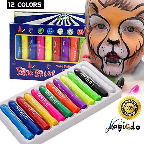 Magicdo Gesichtsfarbe Buntstifte Kits, 12 Farben ungiftig und waschbar Kinder Körper und Gesicht Malerei Sticks Set, Twistable Design. Ideal für Kinder, Weihnachten, Geburtstage, Partys