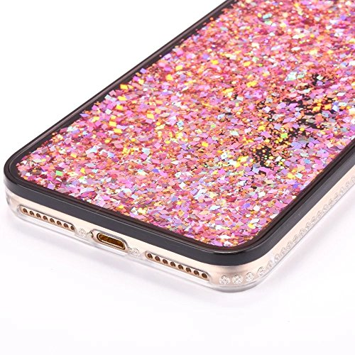 iPhone 7Coque liquide Housse de paillettes, CE i7[Sparkle Diamant Mode Miroir] Luxe Bling hybride souple TPU Bumper + Ultra fin PC Dos rigide Miroir pour iPhone 711,9cm [+ 1x protecteur d'écran + B Magic Liquid 0