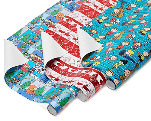 American Greetings Paper and Foil Christmas Wrapping Paper Bundle, 3 Rolls; Peanuts, Snoopy and Charlie Brown, 60 Total sq. ft. (Roll Paper Wrap)