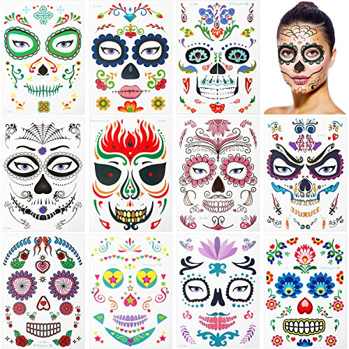 Temporary Tattoos Hippy Gesicht Tattoo-Maske für Halloween Maskerade Kostüm Party ()