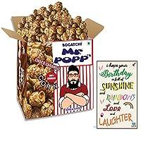 BOGATCHI Mr.POPP's Dark Chocolate Popcorn, 100% Mushroom Popped Crunchy Best Quality Kernels, Handcrafted Gourmet Popcorn, Best Birthday Gift for Husband, 250g + Free Happy Birthday Greeting Card