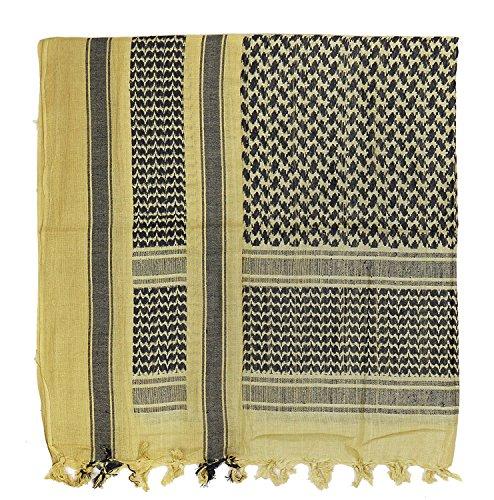 CI Army Military SAS Retro Desert 100% Baumwolle großer Shemagh arabischen Schal Gr. onesize, Khaki/Black