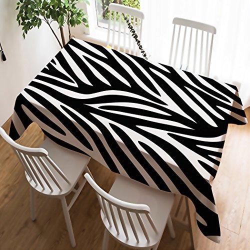 Violetpos Tischdecke Tischtuch Leinendecke Leinen Pflegeleicht Abwaschbar Schmutzabweisend Tischwäsche Schwarz-weißer Zebra-Muster-Streifen 140 x 200 cm