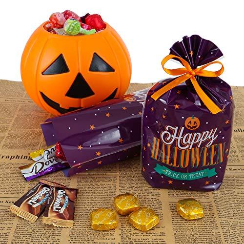 Mogokoyo 50 pezzi Sacchetti per Caramelle Biscotti + Nastro Sacchetto Regalo Halloween Zucca Castello Sacchetti per Cioccolato Torte Dolci - Violetto