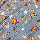 Stoff Fleece Wellness hellblau Fische Seestern weich warm