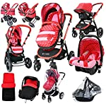 i-Safe System - Bow Dots Trio Travel System Pram & Luxury Stroller 3 in 1 Complete with Car Seat and Rain Covers & Foot Muffs