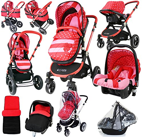 i-Safe System – Bow Dots Trio Travel System Pram & Luxury Stroller 3 in 1 Complete With Car Seat And Rain Covers & Foot Muffs 61NdUmsepCL