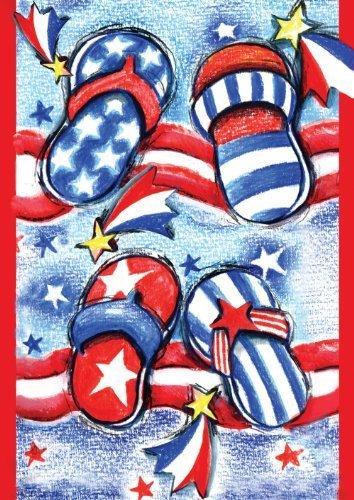 Toland Home Garden-Bandiera degli Stati Uniti, infradito, 12,5 x 18 cm, realizzati da giardino, decorativa, motivo: Bandiera USA con & Toland Home Garden
