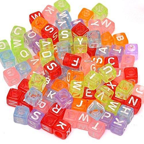 Bead Set, ZZm DIY quadratische Beads, Buchstabe Rosenblätter aus für Armbänder, Ketten, Schlüssel Ketten und Kid Schmuck (B) -