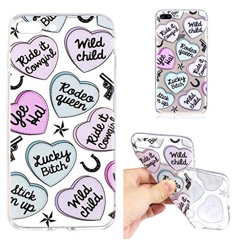 """Hülle für Apple iPhone 7 Plus , IJIA Transparente Einhorn TPU Weich Silikon Stoßkasten Cover Handyhülle Schutzhülle Handytasche Schale Case Tasche für Apple iPhone 7 Plus (5.5"""") (LF8) LF5"""