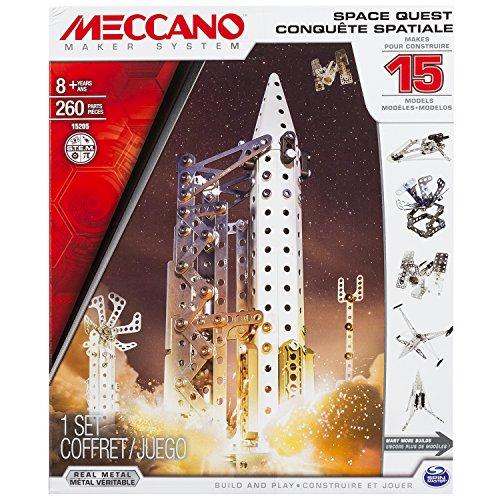 Meccano 6026302 - Space Quest Confezione per Costruire 15 Veicoli Differenti, a Tema Spazio, Pezzi in Metallo
