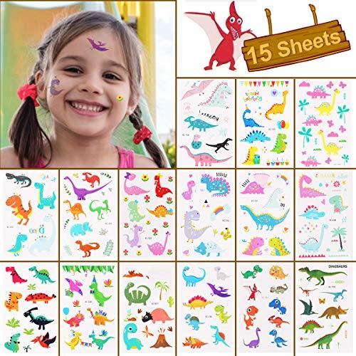 15 Blatt wasserdicht temporäre Cartoon Dinosaurier Tattoos für Kinder Sortiert Dino Fake Tattoo Aufkleber für Jugendliche Jungen und Mädchen, große Kinder Party Favors Geb
