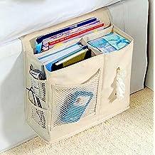 Tikwisdom Oxford - Bolsa para colgar el sofá de la mesa, con bolsillo para mando a distancia, bolsa de almacenamiento Dormitorio, gran capacidad, 6 bolsillos para una visualización y almacenamiento rápidos, 33 x 25 cm, color creamy-white