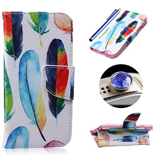 Etche Etui coque pour iPhone 5C,Housse en cuir PU pour iPhone 5C,portefeuille couvercle de la poche pour iPhone 5C,Housse en cuir de cuir flip couverture Wallet téléphone Case avec des fentes de carte plume colorée