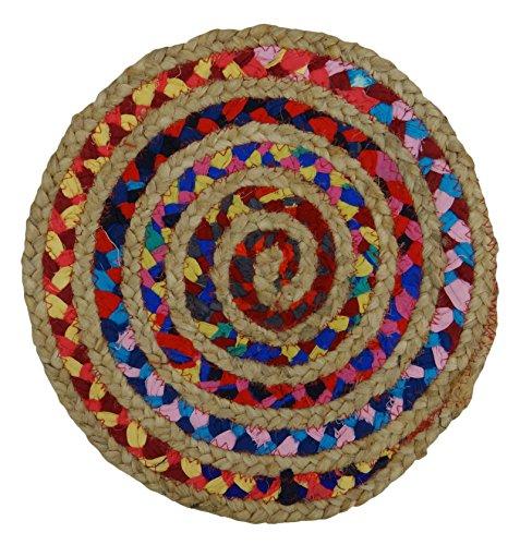 Algodón yute y tela trenzada a mano pequeñas y redondas alfombra de la estera del piso 12.5 Diámetro