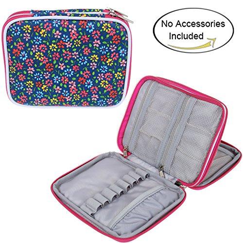 Teamoy Custodia impermeabile Organizzatore cerniera per Crochet Ganci e accessori, Flowers Blue(No Accessori inclusi)