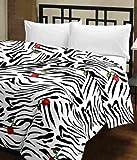 #3: Cloud Mart Beautiful Zebra Floral Design Reversible Double Bed Quilt/Ac Blanket/Dohar