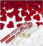 Herzen & Rosen Kanonen SET für Hochzeiten - 60cm XL - 2x Rote Herzen + 2x weiße Rosen - Kleenes Traumhandel®