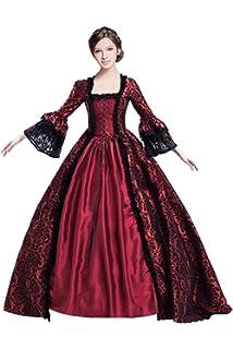 185f8dc577be44 Huiyemy Damen Langarm Renaissance Mittelalter Kleid, Gothic Viktorianischen  Königin Kostüm, U-Ausschnitt mittelalterlichen