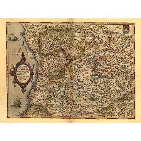 Riproduzione mappa antica dell'Italia, Milano, lago di