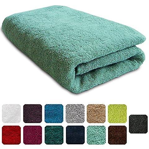 Lanudo® Luxus Duschtuch 600g/m² Pure Line 70x140 mit Bordüre. 100% feinste Frottier Baumwolle in höchster Qualität, Dusch-Handtuch, Badetuch, Badelaken. Farbe: Mint-Grün