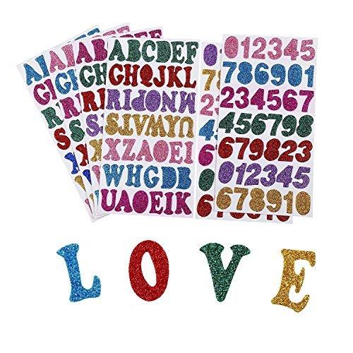 Lvcky 6Blatt Glitzer Schaumstoff Sticker Alphabet Buchstaben Nummer Aufkleber Selbstklebend Aufkleber für Aufkleber Art DIY Dekoration, 7Farben Random, 248Teile Völlig -